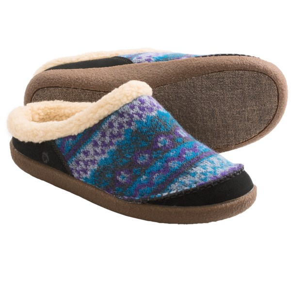 CLOSEOUTS . Ready for all sorts of casual, relaxed activities around the house, Acorn Crosslander Mule slippers have warm insulation and fleece lining tucked inside their luxurious wool-blend upper. Add the versatility of a grippy outsole designed for indoor and outdoor use, and youand#39;ve got a great pair of go-to slippers. Available Colors: ATLANTIC, MULBERRY. Sizes: 6, 7, 8, 9, 10, 11.