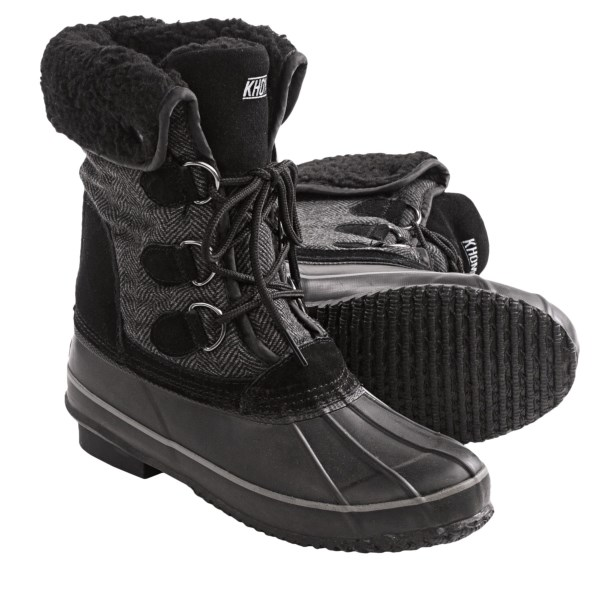 CLOSEOUTS . Fortify your winter footwear with the waterproof, insulated comfort of Khombuand#39;s Corrine pac boots, and youand#39;ll discover that warm, dry feet make winter weather a much more pleasant proposition. Available Colors: BROWN, BLACK. Sizes: 6, 7, 8, 9, 10.