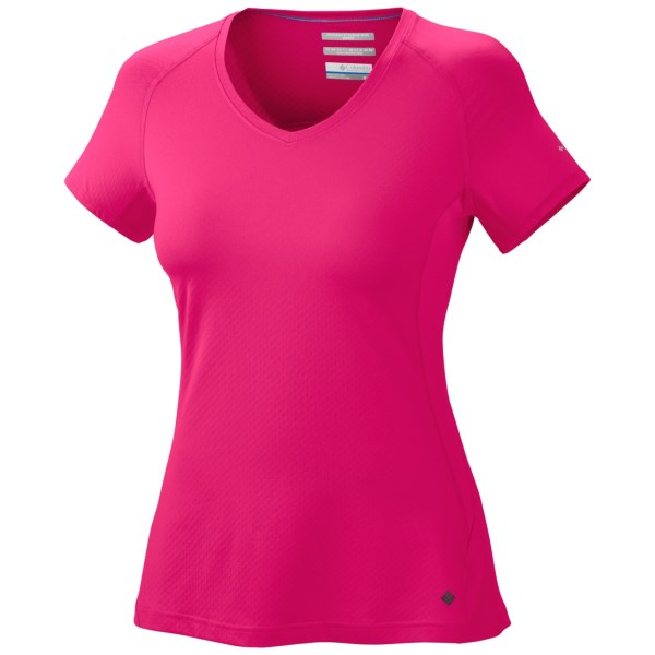 CLOSEOUTS . Cool down on hot days in Columbia Sportswearand#39;s Total Zero shirt, made of lightweight, breathable and stretchy fabric that features moisture-wicking, skin-cooling and UV-blocking Omni technologies. Available Colors: VELVET MORNING, BRIGHT ROSE, ZING. Sizes: S, M, L, XL.