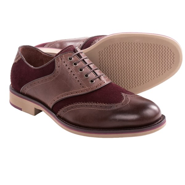 CLOSEOUTS . The bold detailing of Johnston andamp; Murphy Ellington wingtip oxford shoes puts a fresh, modern spin on a classic. The leather and suede upper has contrast top-stitching and perforations for a look that pops. Available Colors: BURGUNDY/BROWN, BROWN/DARK BROWN. Sizes: 8, 8.5, 9, 9.5, 10, 10.5, 11, 11.5, 12, 13.