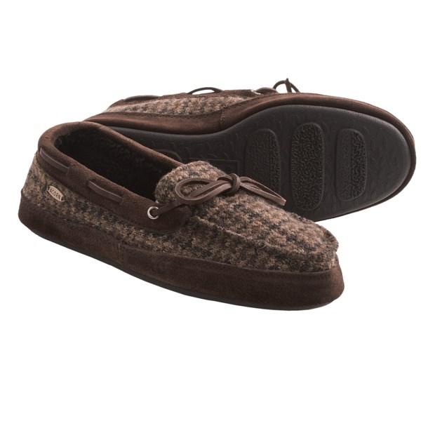 Acorn Camp Moc Slippers - Wool Blend, Faux-Fur Lining (For Men)