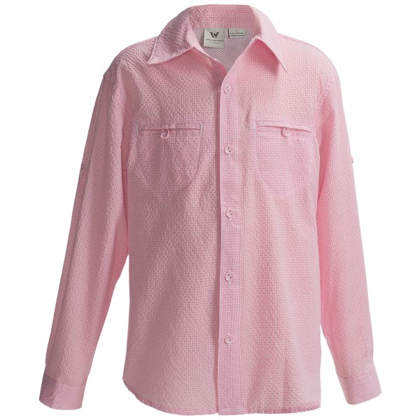 White Sierra Canyon Crest Shirt - Long Roll-Up Sleeve (For Girls)