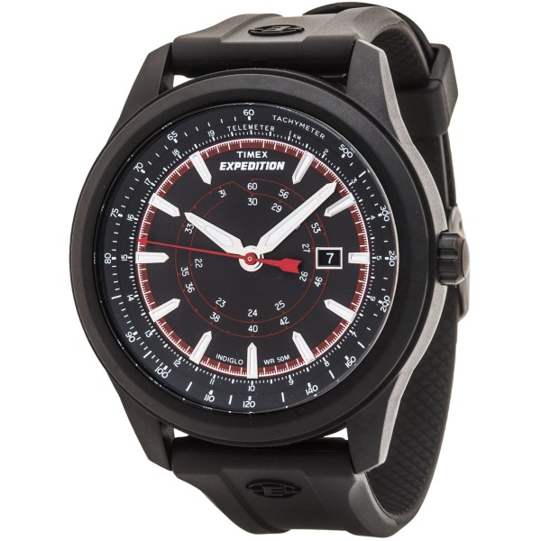 CLOSEOUTS . An outdoor watch tough enough to go wherever you do, Timexand#39;s Expedition Camper watch has a tachymeter for hiking, a QuickDate crown and INDIGLOand#174; illumination. Available Colors: BLACK/RED/GREY, BLACK/BLACK.