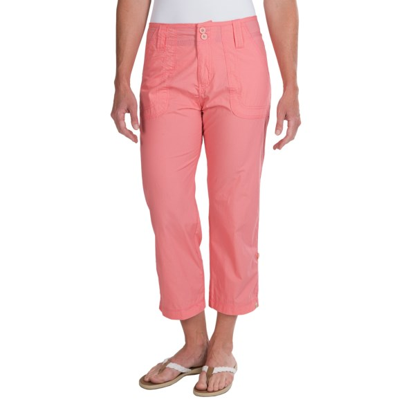 CLOSEOUTS . Softly brushed woven cotton and triple-stitched seams lend a durable, rugged vibe to White Sierraand#39;s Canyon Cargo capris, multi-function favorites that are girly without harshing up your outdoorsy cred. Available Colors: BARK, CORAL, EMERALD ISLAND, WHITE. Sizes: 4, 6, 8, 10, 12, 14.