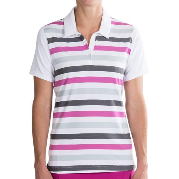 Adidas Golf Puremotion Merch Stripe Polo Shirt Short Sleeve (For Women)