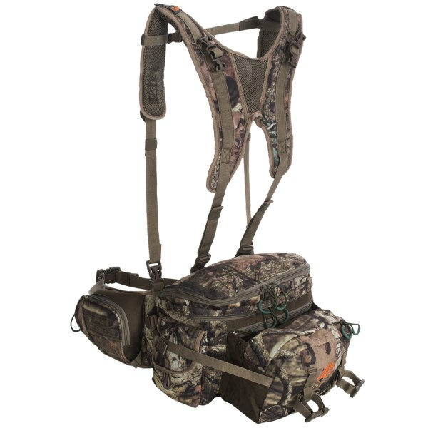 CLOSEOUTS . ALPS Outdoorz Navigator hunting backpack features an unbelievably versatile design thatand#39;s built to carry heavy loads and pack out meat. The compact fanny pack has multiple compartments and expands into a spacious daypack with a universal design that fits a wide variety of compound bows. Available Colors: MOSSY OAK INFINITY, REALTREE XTRA.