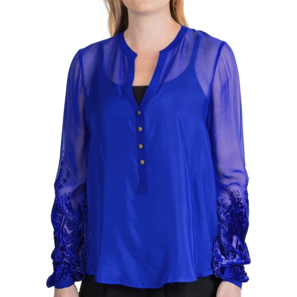 CLOSEOUTS . A sizzling cobalt creation in a sheer blend of rayon and silk, Twelfth Street by Cynthia Vincentand#39;s henley blouse features brass-tone buttons and gorgeous velvet burnout at lower sleeves. Cami recommended! Available Colors: COBALT. Sizes: P, S, M.