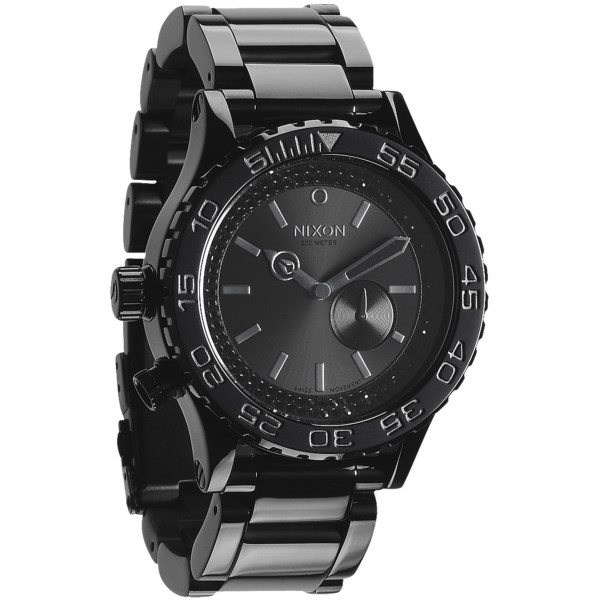 CLOSEOUTS . Understated elegance with an eye for the finer things in life. Nixonand#39;s 42-20 Tide watch features Japanese quartz movement in a rugged black design that appeals to your macho side without ignoring your dignified appearance. Available Colors: ALL BLACK/BLACK CRYSTAL.