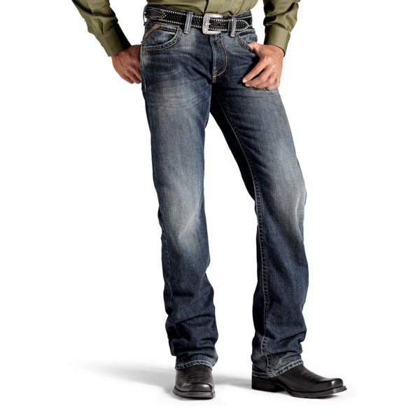 CLOSEOUTS . Comfortable, durable and versatile, Ariatand#39;s M5 Journeyman denim jeans are made of rugged cotton denim with subtle accent stitching and a slim fit through the seat and thigh. Available Colors: STEELHEAD.