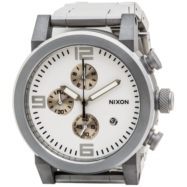 CLOSEOUTS . Nixonand#39;s Ride watch is made for those days when you strap yourself in and hang on. The black stainless steel case has a functioning chronograph for off-the-grid adventure, and the brushed stainless steel band adds an extra touch of civility. Available Colors: BLACK/STAINLESS, WHITE/STAINLESS.