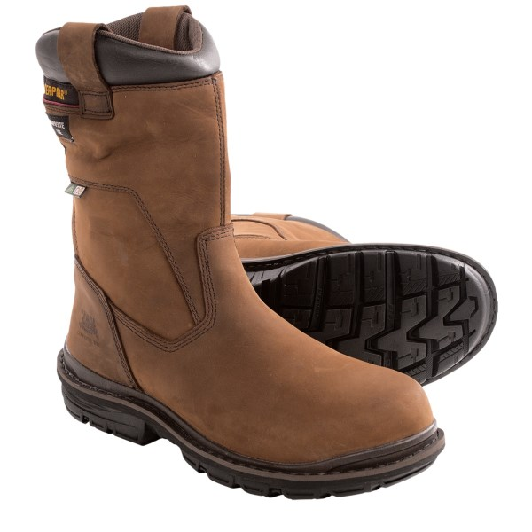CLOSEOUTS . Finally! A full-service work boots thatand#39;s designed with comfort and protection in mind. Caterpillarand#39;s Olton CSA work boots feature a waterproof leather upper with Thinsulateand#174; insulation and a composite safety toe. Available Colors: DARK BROWN. Sizes: 7, 7.5, 8, 8.5, 9, 9.5, 10, 10.5, 11, 12, 13.