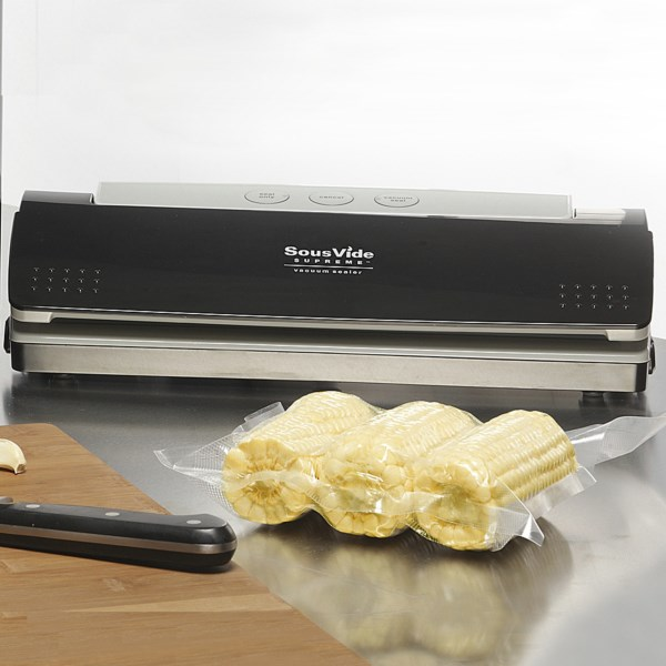 CLOSEOUTS . Whether youand#39;re joining the growing culture of sous vide cooking or simply looking for an easy-to-use vacuum sealer, this SousVide Supreme vacuum sealer fits the bill! Includes 10 vacuum bags (five each of gallon- and quart-size) and helpful userand#39;s guide to get you started. Available Colors: BLACK.