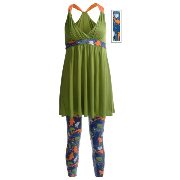 Munki Munki Satin Strap Nightie and Capri Leggings Set - Stretch Cotton-Silk (For Women)