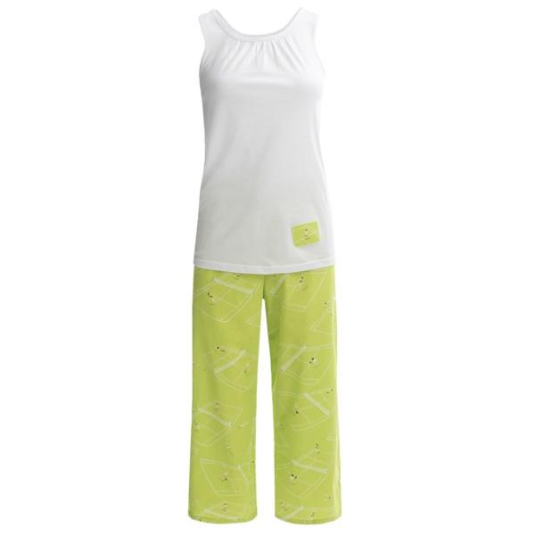 Munki Munki Gathered Tank Top and Capris Pajamas (For Women)