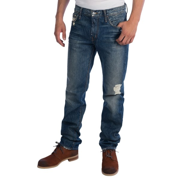 CLOSEOUTS . Would it take eight months to achieve this level of worn-in on your own? Maybe. Koraland#39;s 8 Months Destroyed jeans do all the work for you, looking plenty worn-in from day one with weathered, whiskered denim and hand-sanded accents throughout. Available Colors: 8 MONTHS DESTROYED.