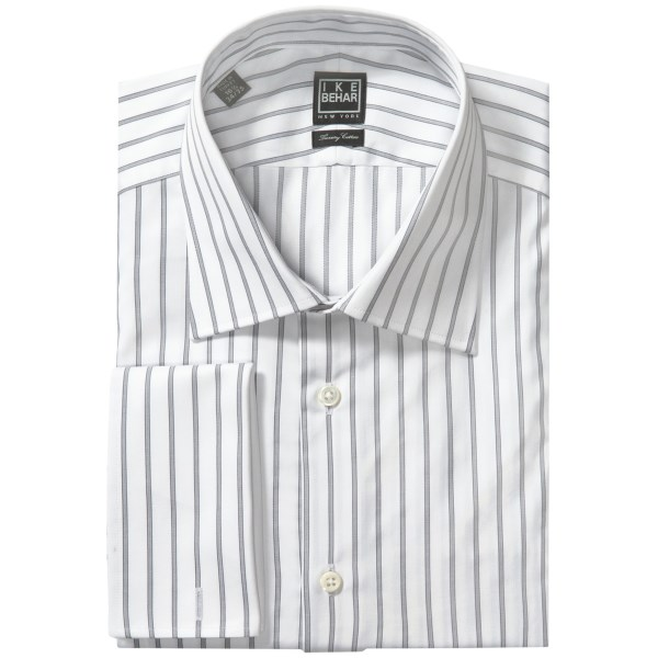 CLOSEOUTS . Ike Beharand#39;s Black Label stripe dress shirt is made from luxury cotton and accented with a French front and French cuffs for an elegantly refined look that exemplifies the comfort and style of traditional menand#39;s wear. Available Colors: 051 SEAL.