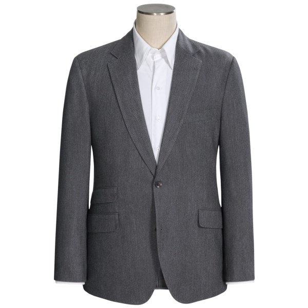 CLOSEOUTS . Pretty uptown for the whimsical designers at Kroon, this wool blend herringbone sport coat gives this traditional weave a smooth finish by spinning polyester with the wool yarns. The result is a business manand#39;s classic with pick stitching and a ticket pocket. Available Colors: GREY.
