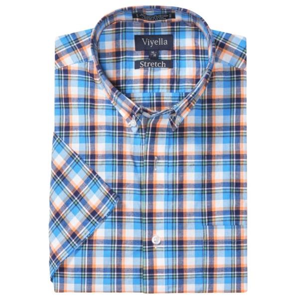 Viyella Washed Cotton Plaid Shirt - Button Down, Short Sleeve (for Men)
