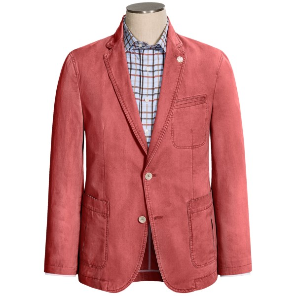 CLOSEOUTS . Even straight-laced accountants are being allowed to soften up the dress code during the summer months with light colors and gloriously unstructured shapes. Rivieraand#39;s Red Genesis jacket looks respectable with an oxford button-down and a tie, but keeps you cool and relaxed in washed cotton -- sans shoulder pads. Available Colors: CREAM, TAUPE, TAN, RED.