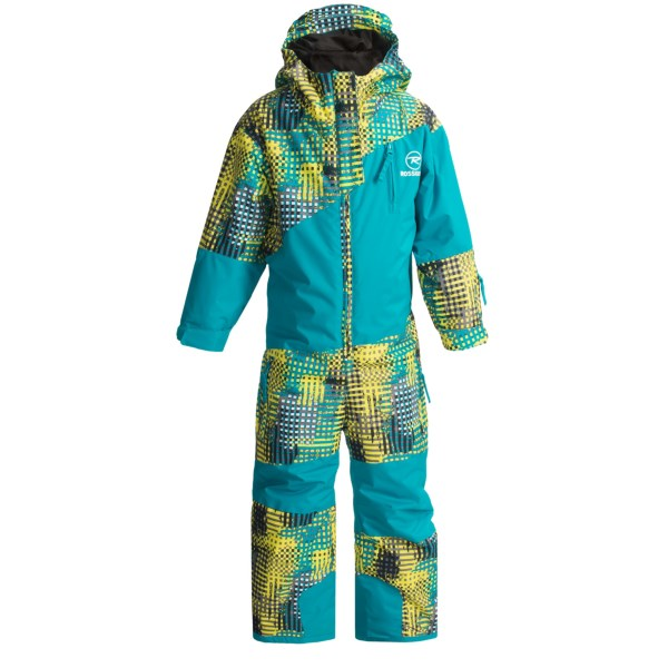 CLOSEOUTS . Hop into Rossignoland#39;s Kid Mini ski suit and set your sights on the slopes! The waterproof fabric is treated with DWR for maximum moisture repellency, and the specially designed sleeves and legs can be lengthened up to 4cm to keep up with growing kiddos. Available Colors: GRID CYAN, TREES PINK. Sizes: 2, 4, 6.