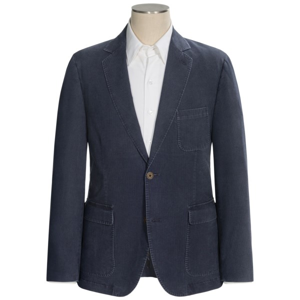 CLOSEOUTS . Youand#39;d probably never wear a denim sport coat, but Flyntand#39;s Bond-W cotton blend sport coat gives you the same mellow feeling in denim-shaded mini-checks and a soft-handed fabric blend of cotton and TENCELand#174;. Available Colors: NAVY.