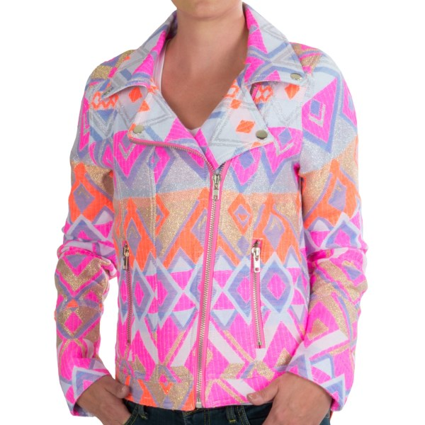 CLOSEOUTS . A big personality calls for bold fashion, and Chaserand#39;s Mahila Moto jacket is here to answer the call. Bright neon and metallic colors make the zippers and snap accents explode off the lightweight material. Best part: The moto-inspired design flatters your fabulous figure. Available Colors: MAHLIA. Sizes: XS, S, M, L.