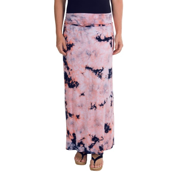 CLOSEOUTS . Lava-like energy flows through the novel tie-dye print of Chaserand#39;s Fold-Over maxi skirt/dress -- a softly draping rayon with ample stretch. Position it at the waist for floor-length fun or hike it up to the bustline for a strapless cover-up or sundress. Available Colors: CANDY, DEEP SEA, UNDERWATER. Sizes: XS, S, M, L.