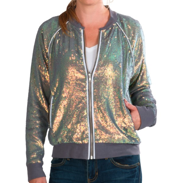 CLOSEOUTS . Know why Chaserand#39;s sequin baseball jacket (unfortunately) never became part of an actual baseball uniform? Because sequins. A billion iridescent, eye-catching sequins. Who can concentrate on anything but when thereand#39;s these majestic sequins to behold?! Available Colors: STORM. Sizes: XS, S, M, L.