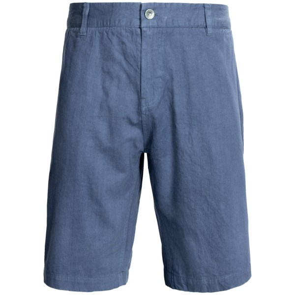 CLOSEOUTS . Gramicci Cresent League shorts offer an understated, travel- and leisure-friendly design. They are made from durable, abrasion-resistant NPT fabric, a proprietary double ring-spun hemp/organic cotton blend. Available Colors: ANTELOPE, BARRACKS GREEN, CLASSIC KHAKI, DEEP RED, J GREY, OCEAN BLUE, OLD STONE, SEA PORT BLUE, VINTAGE INDIGO, WILLOW GREEN.