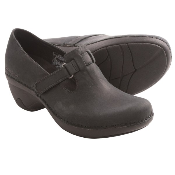 CLOSEOUTS . A sleek, foot-healthy clog in a versatile silhouette, Patagoniaand#39;s Better Clog Mary Jane shoe features a cute instep strap and a chunky heel, complete with an anatomic, arch-supporting footbed. Available Colors: ESPRESSO BROWN, CATTAIL, BLACK. Sizes: 5, 5.5, 6, 6.5, 7, 7.5, 8, 8.5, 9, 9.5, 10, 11.