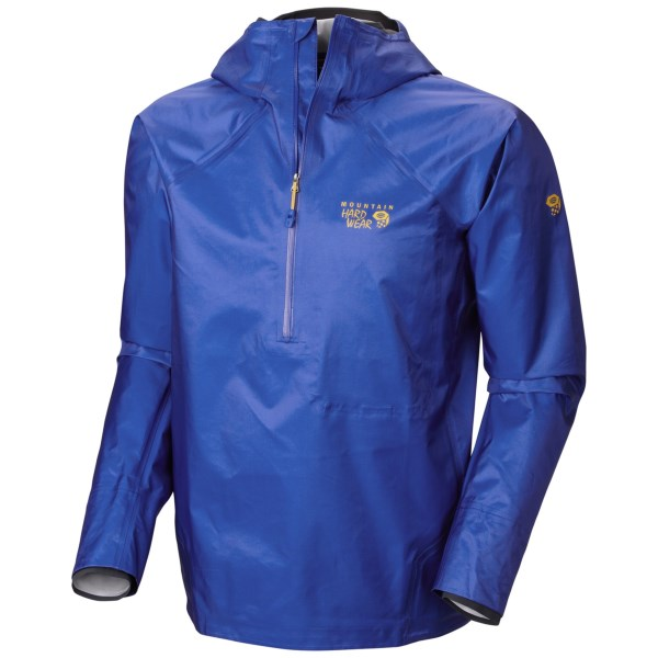 CLOSEOUTS . A watertight, ultralight shell to keep you high and dry from rain sprinkles to monsoon, Mountain Hardwearand#39;s Quasar Hybrid pullover jacket takes the waterproof cake. With a Dry.Q(R) Elite membrane, fully sealed seams and a sporty, non-restrictive fit, this baby is prepared for anything. Available Colors: AZUL/SHARK, STATE ORANGE/SHARK. Sizes: S, M, L, XL, 2XL.