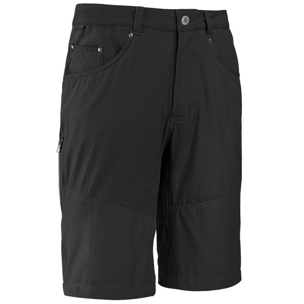 CLOSEOUTS . A travel companion you canand#39;t live without, Merrell Stapleton stretch shorts are reinforced for adventure with breathable, quick-drying Opti-Wick fabric and engineered crotch gussets. Available Colors: BLACK, MANGANESE.