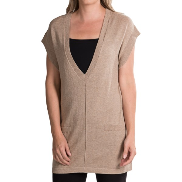 August Silk Yummie Yarn Vest - Cotton-Viscose (For Women)