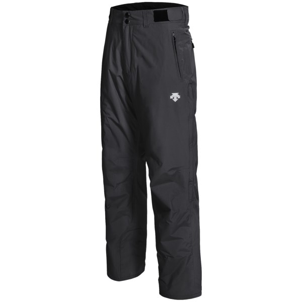 CLOSEOUTS . Sail smoothly down the slopes in Descente Greyhawk ski pants. They feature windproof, water-resistant, lightly insulated fabric, leg vents and an easy-to-adjust waist. Available Colors: BLACK, CHARCOAL. Sizes: 30, 32, 34, 36, 38, 40.