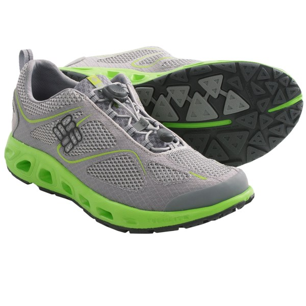 CLOSEOUTS . Lightweight and water-friendly, Columbia Sportswearand#39;s Powervent shoes are a quick-drying hybrid that excels around the water. Breathable mesh and a quick-draining insole and midsole keep feet comfortable in wet conditions. Available Colors: BLACK/GRILL, LIGHT GREY/AUTZEN, OYSTER/COAL, CHARCOAL/LIGHT GREY. Sizes: 7, 7.5, 8, 8.5, 9, 9.5, 10, 10.5, 11, 11.5, 12, 13, 14, 15.