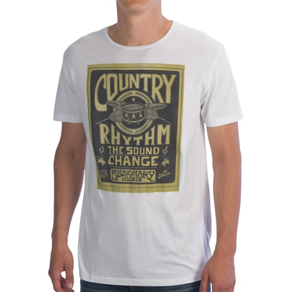 CLOSEOUTS . Get a dose of country with this Rhythm Country Cotton T-shirt, made of soft cotton and featuring a throwback graphic from a fictional music festival you wish you could have attended. Available Colors: WHITE. Sizes: S, M, L, XL.