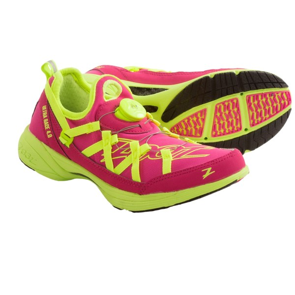 CLOSEOUTS . An ultralight triathlon shoe made for race day, Zoot Sportsand#39; Ultra Race 4.0 running shoes storm the finish line with the secure fit of the BOAand#174; Dynamic Fit system and BareFit technology for sockless wear. Available Colors: SAFETY YELLOW/PINK GLOW/GREEN, BEET/SAFETY YELLOW. Sizes: 6.5, 7, 7.5, 8, 8.5, 9, 9.5, 10, 10.5, 11, 6.