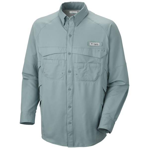 CLOSEOUTS . Button up the ultralight, moisture-wicking Columbia Sportswear PFG Airgull Lite II shirt and spend a comfortable day on the water thanks to the vented design, Omni-Shadeand#174; UPF 40 sun protection and roll-up sleeves. Available Colors: CAPRI, TIPPET, STORM. Sizes: S, M, L, XL, 2XL.