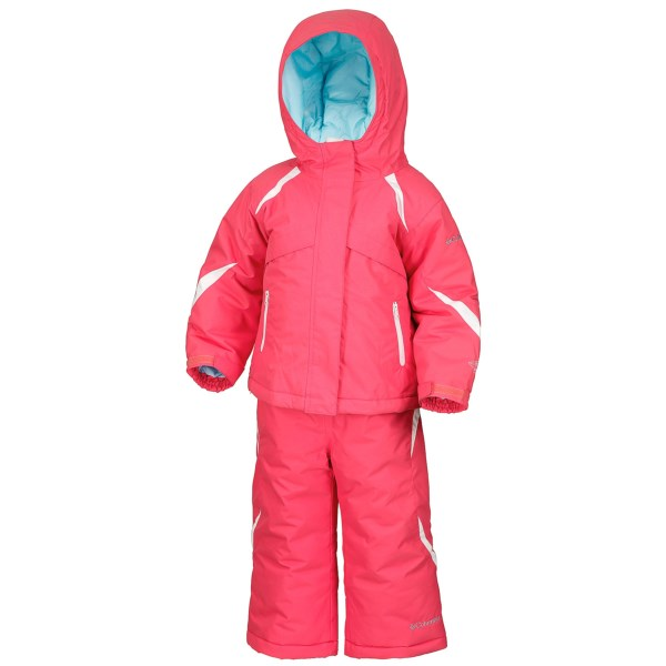 CLOSEOUTS . Columbia Sportswearand#39;s Buga jacket and bib set features Omni-Techand#174; waterproof breathable protection, a comfy fleece top bib and warm polyester insulation. Available Colors: 634 AFTERGLOW. Sizes: 6 MONTHS, 12 MONTHS, 18 MONTHS, 24 MONTHS.
