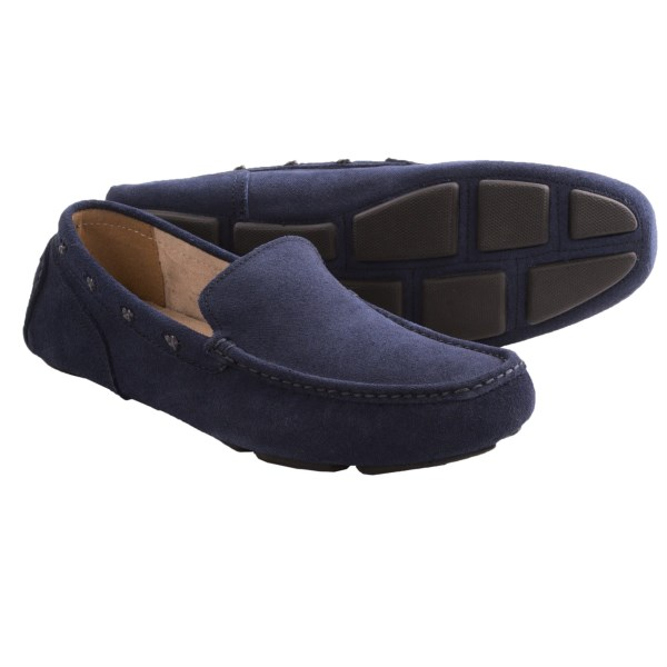 CLOSEOUTS . The epitome of easy leisure, Andrew Marcand#39;s Astor suede loafers are an enduring classic -- a driving shoe crafted from a unique canvas-textured suede with knotted collar lacing and pod-style outsole. Available Colors: NAVY, ALDER. Sizes: 7.5, 8, 8.5, 9, 9.5, 10, 10.5, 11, 12, 13.
