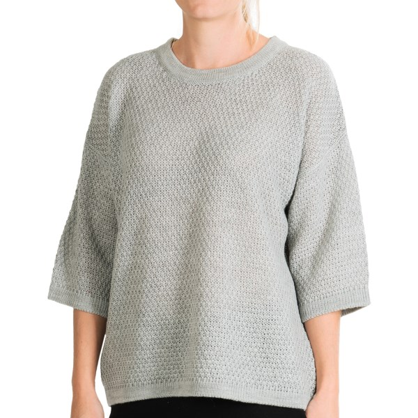 CLOSEOUTS . The August Silk sweater features an eye-catching zip back, and the comfortable warmth of a soft wool blend. Three-quarter sleeves add a stylish touch to this cool-weather favorite. Available Colors: MOONLIGHT HEATHER. Sizes: S, M, L, XL.