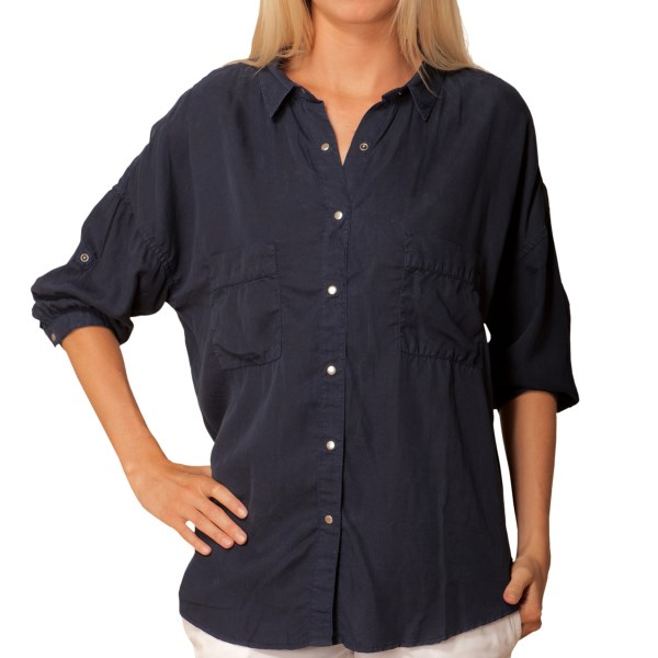 J.A.C.H.S. Oversized Snap Front Shirt - Tabbed Elbow Sleeve (For Women)