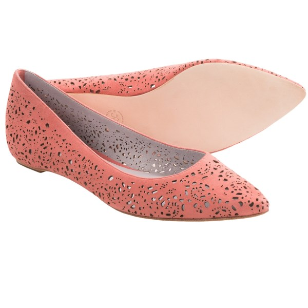 CLOSEOUTS . Featuring a vibrant, laser-cut suede upper with a chic pointed toe, Johnston andamp; Murphyand#39;s Tami ballet shoes are fanciful, delicate and sophisticated at the same time. Available Colors: SILVER METALLIC, ROSE GOLD METALLIC, CORAL METALLIC, SPRING GREEN, TURQUOISE. Sizes: 6, 6.5, 7, 7.5, 8, 8.5, 9, 9.5, 10.