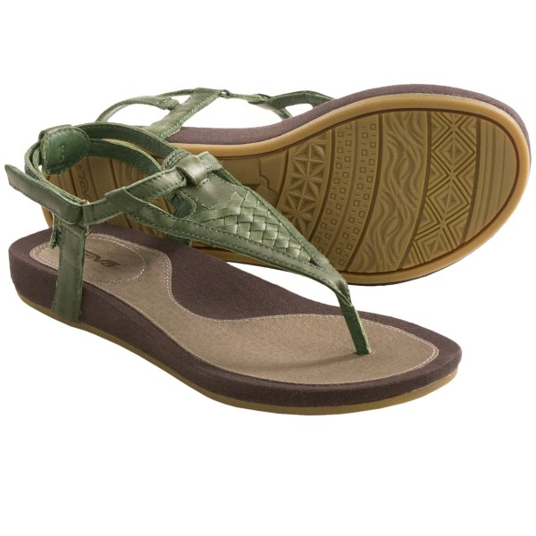 CLOSEOUTS . Seek out your warm weather adventure in Tevaand#39;s Capri sandals, made with a gorgeous woven leather T-strap upper and trendy canvas-wrapped midsole and sidewall. These eye-catching sandals are designed to take you anywhere with a comfy contoured footbed and long-lasting outsole. So go ahead... pick a place. Available Colors: GREEN, RHUBARB, BLACK, TAUPE, TOFFEE. Sizes: 5, 5.5, 6, 6.5, 7, 7.5, 8, 8.5, 9, 9.5, 10, 11.