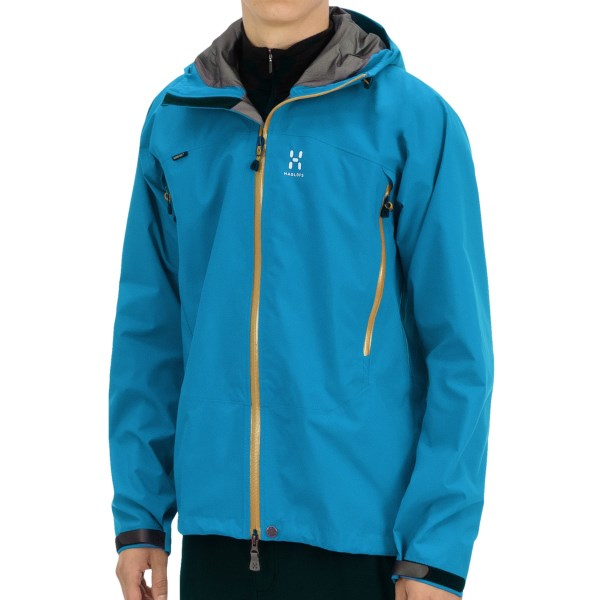 CLOSEOUTS . A technical shell built for extreme wet weather protection, Haglofs Electron jacket features a three-layer Gore-Texand#174; waterproof breathable membrane, waterproof zippers and a wire-brimmed storm hood. Available Colors: BANNER BLUE, TEAL BLUE, SUNSET, DEEP RED, BLACK, OXIDE GREEN, AZURE BLUE, STRATO BLUE. Sizes: M, L, XL.