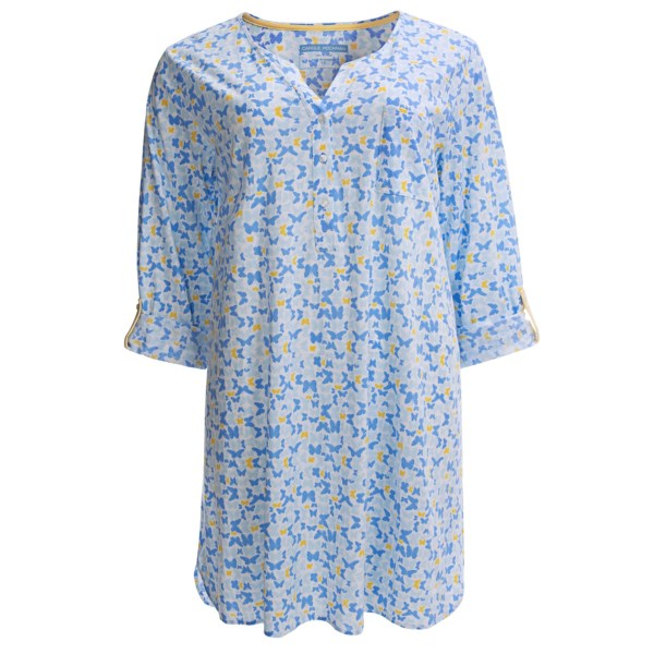 Carole Hochman Butterfly Garden Sleep Shirt - Long Sleeve (For Plus Size Women)