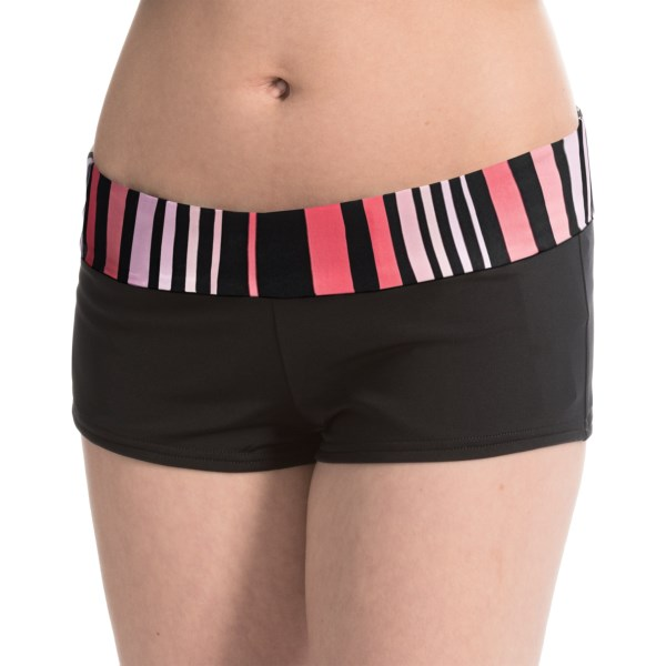 CLOSEOUTS . Be the first picked for hot-weather games in JAGand#39;s banded swimsuit bottoms. With their eye-catching print and awesome full coverage, you might even be nominated team captain! Available Colors: BLACK/MULTI STRIPE, BLACK/ISLAND GREEN STRIPE. Sizes: S, M, L, XL, XS.