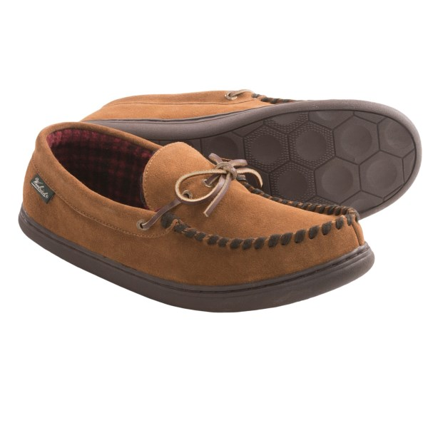 CLOSEOUTS . Woolrichand#39;s Potter County moccasin slippers feature a plush interior that brings fireplace warmth to your feet in all rooms of your house. Available Colors: WOOD, CHICORY. Sizes: 8, 9, 10, 11, 12, 13.