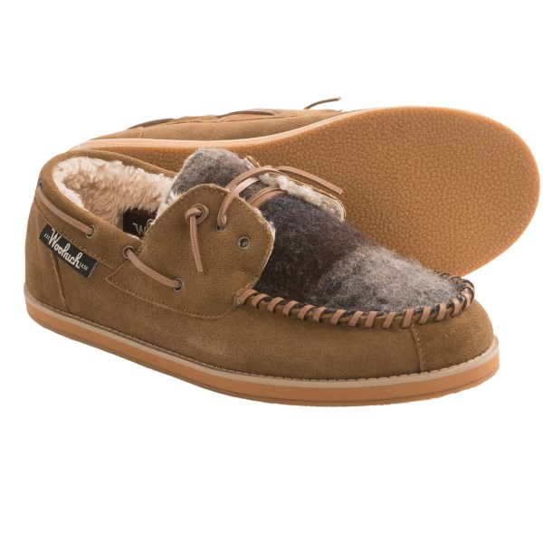 CLOSEOUTS . Woolrichand#39;s Austin Potter moccasin slippers are a glorious cross between a shoe and a slipper. The rubber outsole provides enough traction for trips to the store or mailbox, and the furry fleece interior wraps your feet in cozy comfort. Available Colors: FIRE, EARTH. Sizes: 8, 9, 10, 11, 12, 13.
