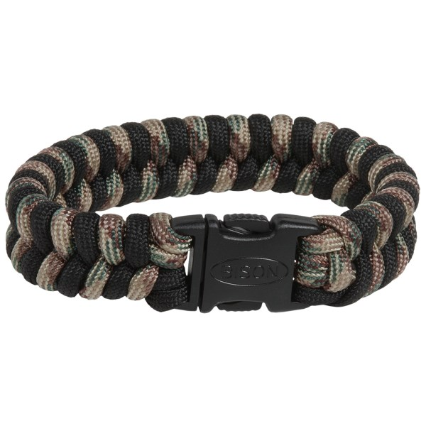 CLOSEOUTS . There when you need it, Bison Designsand#39; two-tone bracelet unties to produce eight feet of paracord for lashing, first aid and more. Available Colors: CAMO, EARTH, SUN, CHOCOLATE BROWN/BLACK, COYOTE/BLACK, DARK OLIVE/BLACK, LIGHT OLIVE/BLACK, MIDNIGHT BLUE/BLACK, TAN/BLACK, ROYAL/BLACK, LIME GREEN/BLACK, ORANGE/BLACK, PINK/BLACK, PURPLE/BLACK, RED/BLACK, ACU DIGI CAMO/BLACK, DESERT CAMO/BLACK, WOODLAND/BLACK, PINK CAMO/BLACK, MULTI CAMO/BLACK. Sizes: L, M, S.